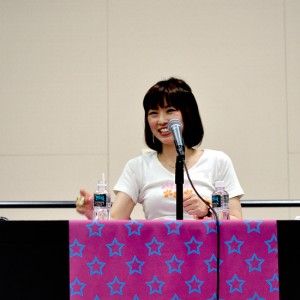 Shimoda reacts to an audience member